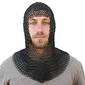 Nasir Ali Marke Kettenhemd Coif Black Chainmail Hood Ritter Rüstung Reenactment Kostüm LARP SC (Chainmail Coif Kostüm)