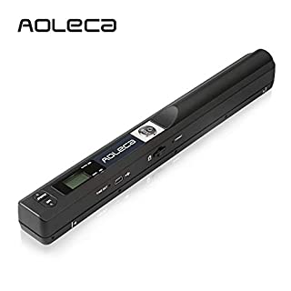 Portable Scanner Aoleca 900DPI Handheld Mobile Document Portable Scanner Business Card Hand Scanner and Color(High-Speed USB 2.0,JPG/PDF Format Selection,8G Micro SD Card and OCR Software included)