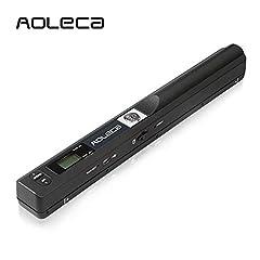 Idea Regalo - AOLECA Scanner Portatile 900DPI per Documenti A4, Foto, Scontrini, Libri, Supporta il Colore Bianco e Nero, Salvataggio in Formato JPEG / PDF su MicroSD, Ad Alta Velocità USB 2.0 OCR Software Incluso