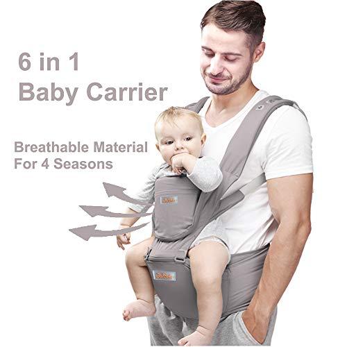 JooBebe Mochilas portabebé Ergonómico Ajustable Marsupios Portabebé 6 en 1 Baby Carrier Ergonomico con Asiento y Transpirable para Recién Nacidos y Niños Pequeños de 0 a 4 Años(Gris)