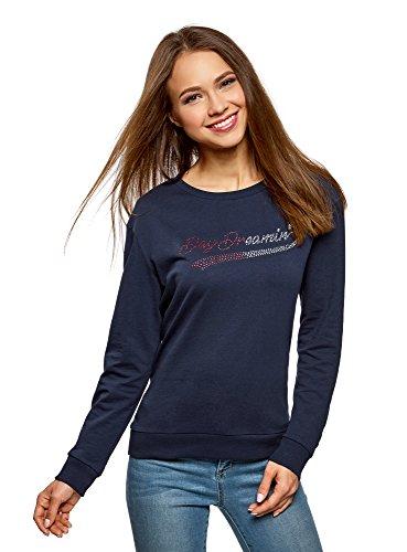 Damen Navy Blau Strass (oodji Ultra Damen Baumwoll-Sweatshirt mit Strass-Steinen, Blau, DE 38 / EU 40 / M)