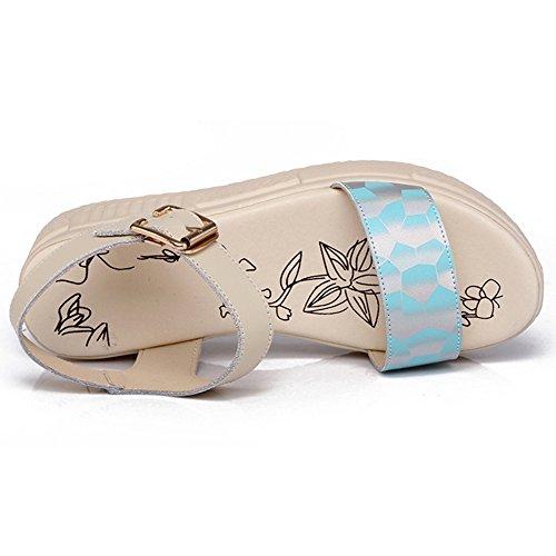 TAOFFEN Femmes Sandales Mode Bout Ouvert Sangle De Cheville Compenses Chaussures Bleu