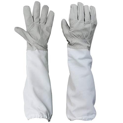 YA-Uzeun 1 Paar Imkerschutzhandschuhe mit belüfteten Langen Ärmeln, Grau und Weiß -