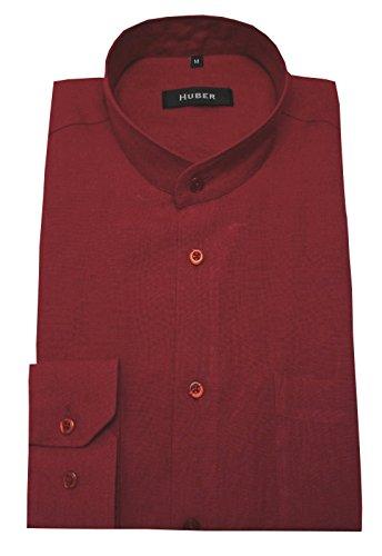 Stehkragen Leinen Hemd HUBER 0049 Qualitäts Leinenhemd rot weinrot 100% Leinen bequeme Passform Größe S bis 4XL Rot