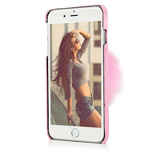 """YOKIRIN Hardcase Hülle für iPhone 7 Plus /iPhone 8 Plus (5.5"""") Handyhülle Schutzhülle Premium Sternen Hairball Plüsch Case Hart PC Case Handyschale Rückseite Protective Cover Tasche Etui Protective Ba Pink"""