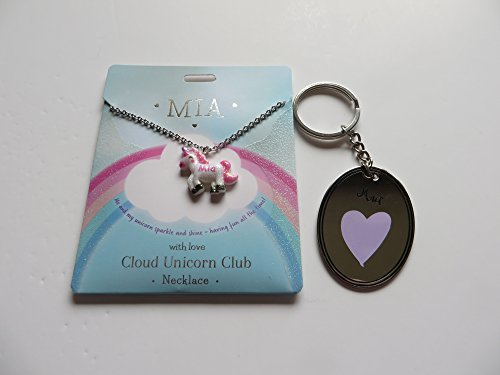 PERSONALISED CLOUD UNICORN NECKLACE FOR MIA WITH FREE KEYRING