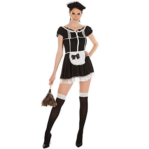 Frauenkostüm sexy Zimmermädchen | Super verführerisches Kleid | Zaubert ein traumhaftes Dekolleté | inkl. Haarreif und Strümpfe (XL | Nr. 301058)