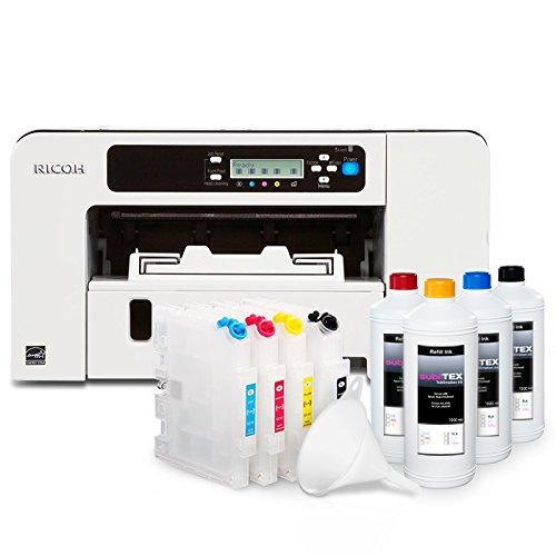 Sublimationsdrucker Starter Set Ricoh Geldrucker SG-2100n inkl. Papier, Patronen, 400ml Tinte