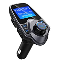 Fm Transmitter Car Bluetooth, Patuoxun Radio Transmitters Car MP3 Player FM Modulator Hands Free Calling Car Kit with 2 USB Charger Port, 1.44 Inch Large LCD Display, 3.5mm Audio Port, Support TF Card Slot, USB Flash Drive Port for Apple iPhone iPod iPad