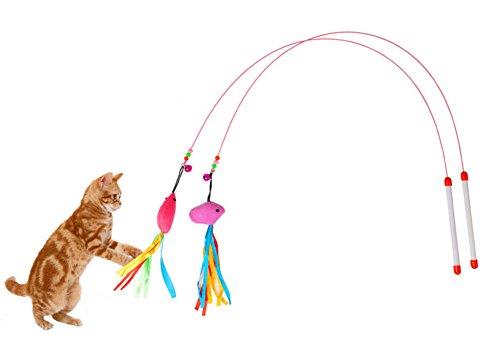ives Katzenspielzeug Katzen Spielzeug mit Mäuse Fisch Glöckchen, Flexibel Metall Faden und Kunststoff Griff ()