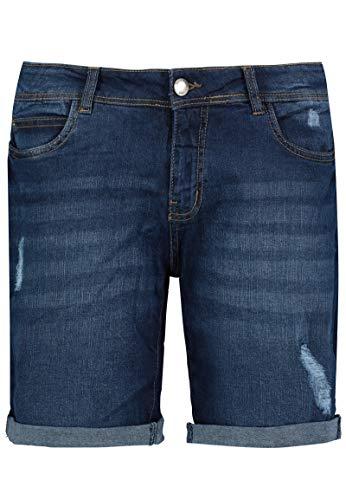 Sublevel Damen Stretch Jeans Bermuda-Shorts I Bequeme Kurze Hose im Used-Look Dark-Blue L