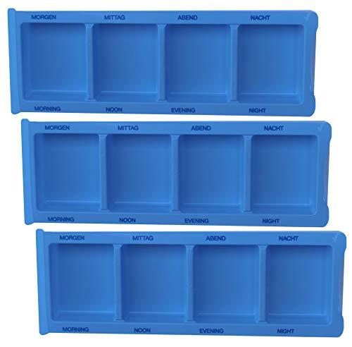 Medikamentendispenser Medi-Inn Tablettenbox Pillenbox Tages - Dispenser mit 4 Fächer(blau XL Spezial,3 Stück)