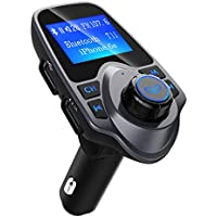 Fm Transmitter Car Bluetooth, Patuoxun Radio Transmitters Car MP3 Player FM Modulator Hands Free Calling Car Kit with 2 USB Charger Port, 1.44 Inch Large LCD Display, 3.5mm Audio Port, Support TF Card Slot, USB Flash Drive Port for Apple iPhone iPod iPad Samsung Huawei Android LG HTC GPS Units Smartphone etc
