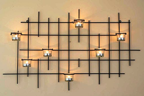 DanDiBo Wandteelichthalter 7XXL Wandkerzenhalter Metall 83 cm Teelichthalter Kerzenhalter