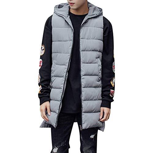 Herren Lange Weste Gesteppt Steppweste Bodywarmer Mit Kapuze Rmellos Jacke Mantel Winter Derbe Outerwear Reißverschluss Unifarben Männer Jacke Coat (Color : Grau, Size : XL)