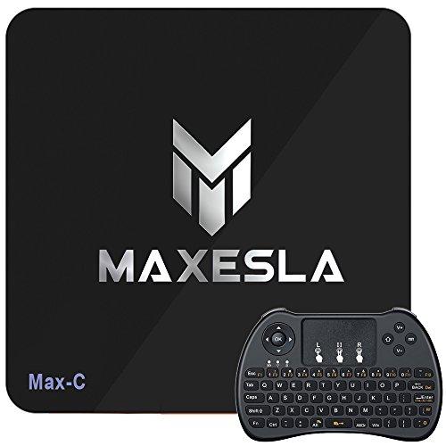 Maxesla Max-C Android Smart TV Box von Android 6.0 Betriebssystem Amlogic S905X 1GB DDR3 + 8GB eMMC mit OTA-Funktion 2.4GHz WiFi WLAN Empfänger 4K / 1080p / 3D + Mit Drahtloser Tastatur