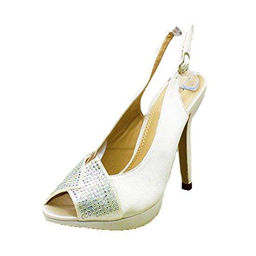 Ladies Satin cristal cloutés open toe sling retour mariage chaussures Ivoire