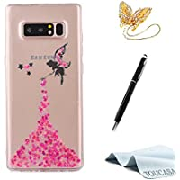 TOUCASA Funda Galaxy Note 8, Glitter Super Delgado y Ligero Transparente TPU Silicona,Funda Móvil Case Brillo, Anti-arañazos Case Ángel Pequeña Hada Cover para Samsung Note 8-Rosa Caliente