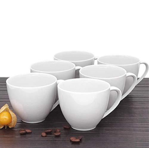 Kahla 55G115A90055C Diner Tassenset weiß ohne Dekor Kaffeetassen 6-teilig für 6 Personen 200 ml Henkeltasse Porzellantassen Set Tee Kakao Teetassen