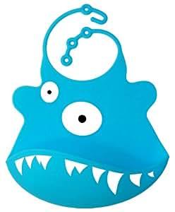 BOMIO Silikon Latz Hai   Lätzchen mit praktischer Auffangschale   für Babys und Kleinkinder   wasserdicht, leicht abwaschbar, spülmaschinenfest   kindgerechte Tiermotive   geprüft nach EN 71