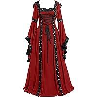 Mujer Vestidos de Fiesta Gótico Vintage Medievales Renacentista de Manga Trompeta Cuello Redondo Retro Maxi Vestido con capuch Elegantes Victoriano Vestido de Princesa Gusspower
