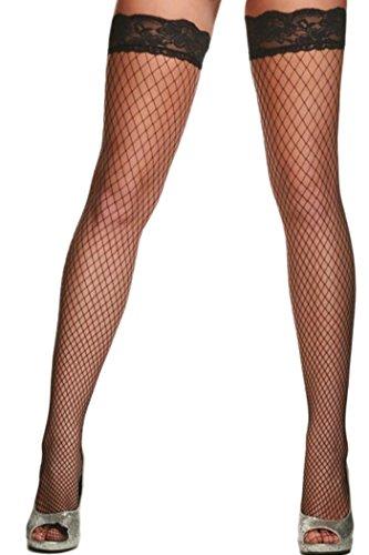 HO-Ersoka Damen Netz Strümpfe halterlos fein mit Spitzen Saum schwarz (Halloween-kostüme Mit Röcken)