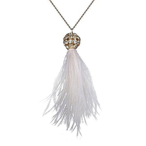 Babeyond Damen Halskette Art Deco 1920 Flapper Feder Anhänger Inspiriert von Great Gatsby Krone Strass Halskette (Modeschmuck 1920)