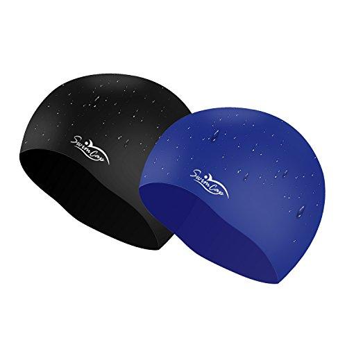 Badekappe Kasos Schwimmkappe Silikon Unisex wasserdichte rutschfeste Schwimmhaube One-Size 2 Stück ( Schwarz und Blau )