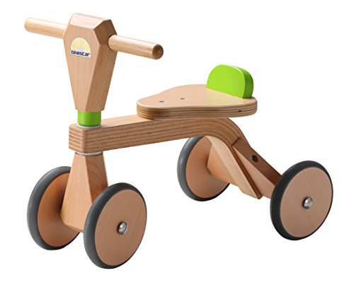 *BIKESTAR® Kinder Wheely Rutscher Kinderfahrzeug ab 18 Monaten ★ Natur Holz Edition ★ Farbe Gras Grün*