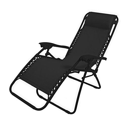 Garden kraft 24010 Benross Deluxe - Silla reclinable de jardín con reposacabezas móvil - Carbón