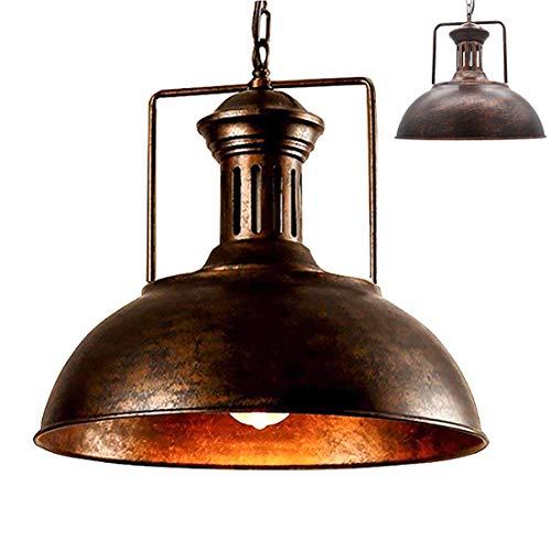 Scheune Metall (✨Vintage Anhänger leichten industriellen Metall Scheune Lampe Schatten antike Schale geformten Eisen Schmiedeeisen verstellbare Ketten Decke Licht Kronleuchter (Rostfarbe, 42CM))