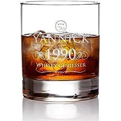 AMAVEL Whiskyglas mit Gravur – Elegant – Personalisiert mit [Name] und [Jahreszahl] – Tumbler Whiskeyglas – Vatertag – Geschenke für Männer zum Geburtstag – Füllmenge: 320 ml