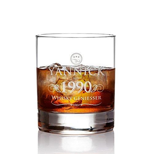 Amavel Whiskyglas Mit Gravur Elegant Personalisiert Mit Name Und Jahreszahl Tumbler Whiskeyglas Vatertag Geschenke Fr Mnner Zum Geburtstag Fllmenge 320 Ml