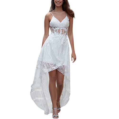 Sommerkleid Damen Vintage Elegant Sexy Maxi Lang Petticoat Hochzeit Party Vokuhila Bandeau Spitze Schickes A Linien Swing Lockeres ()