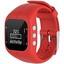 Repuesto correa de reloj OverDose piel-suave correa de reloj de pulsera de silicona para reloj Polar A300 (Rojo)