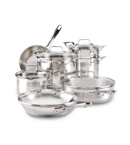 Emeril E884SC Restaurant Stainless Steel Cookware Set, 12-Piece, Silver by EmerilÃ'Â