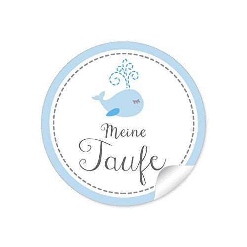 """2er Set 2 Bögen a 24 STICKER:""""Meine Taufe"""" 48 schöne Etiketten mit einem Walfisch für einen Jungen in blau (A4 Bogen) • Papieraufkleber (Aufkleber im Format 4 cm, rund, matt)"""