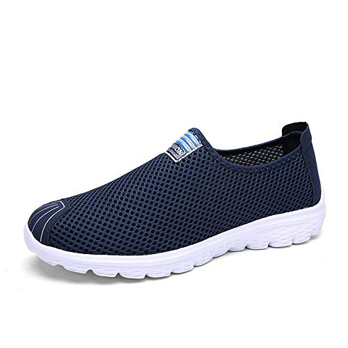 HOTSTREE Plus Size Unisex Summer Breathable Mesh Men Shoes Lightweight Flats Men Casual Shoes Sneakers Male Beach Shoes Dark Blue 8.5