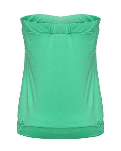 ZANZEA Femmes Sexy Bustier Casual Eté Slim Plissé Froncé Plage épaule Nu Vest Shirt Tube Top Vert
