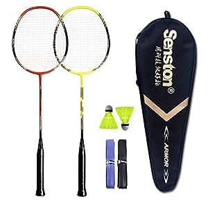 Senston Sets de badminton Graphite raquette de badminton - Y compris 1 badminton sac/2 volants de badminton/2 raquette de badminton/2 surgrip£¬N-rouge + jaune