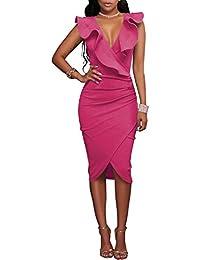 Gikim Women's Sexy V-Neck Ruffle Sleeveless Tight Wrap Midi Club Bodycon Party Dress