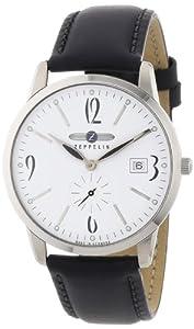 Reloj de caballero Zeppelin 73341 de cuarzo, correa de piel color negro de Zeppelin