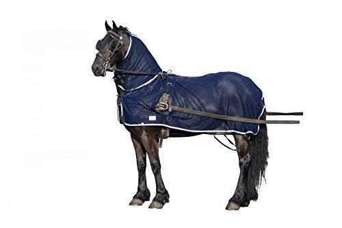 QHP Fliegendecke speziell für Fahrpferde mit abnehmbarem Halsteil und Öffnungen für das Fahrgeschirr (135 cm)
