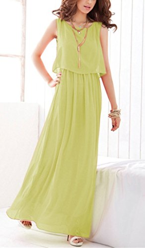 Damen Bohemian Kleider A-Line Chiffon Dress Summer Strandkleid Hipster Kleider Lang Elegant Strand Sommerkleider Maxi Dress Grün2