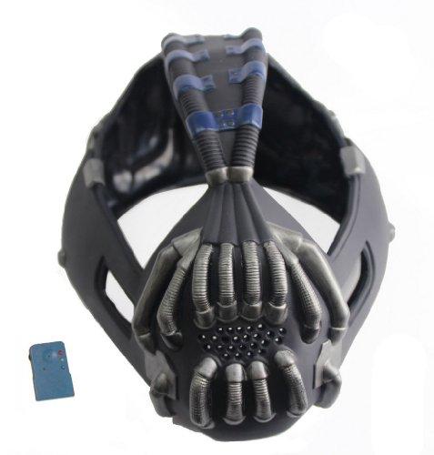 Halloween Maske mit Voice Changer Cosplay Kostüm Herren Halloween Verrücktes Kleid Latex Helm Replik für Party (Bane Kostüm Design)