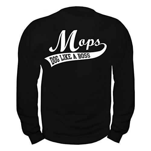 Männer und Herren Pullover Mops BOSS (mit Rückendruck) Schwarz