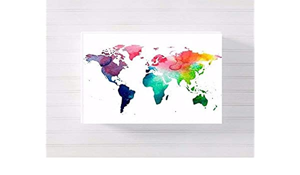 world map nursery a3 canvas picture nursery gift watercolour ...