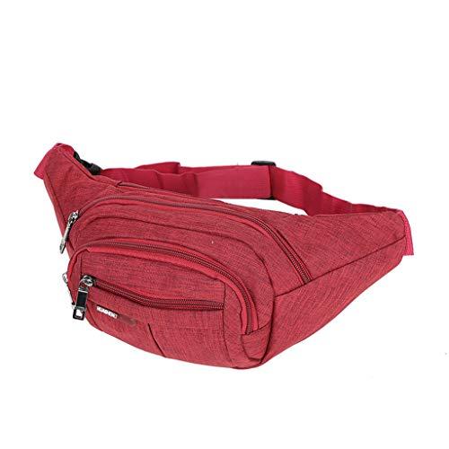 3 Tasche Blazer (Hüfttasche für Damen und Herren/Skxinn Wasserdichte Reise Gürteltasche,Bauchtasche 3 Reißverschluss Taschen,Wandern Outdoor Sport Handytaschen, Urlaub Geld Pouch Pack,Running Umhängetasche(Rot))