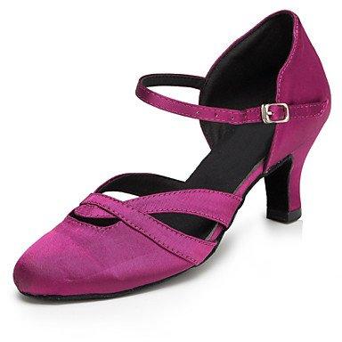 Silence @ Chaussures de danse pour femme en satin satiné latine/Jazz/moderne/Chaussures de swing/Salsa Sandales/talons Heelpractice/ Violet