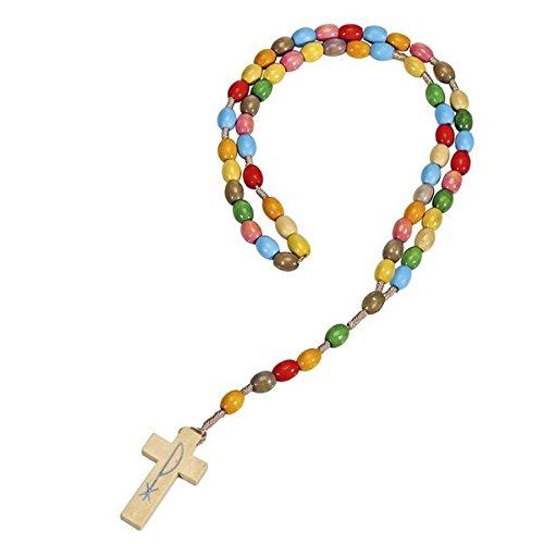 Holz-Rosenkranz »Gott segne dich«: Rosenkranz mit bunten Perlen und Kreuzanhänger aus Holz